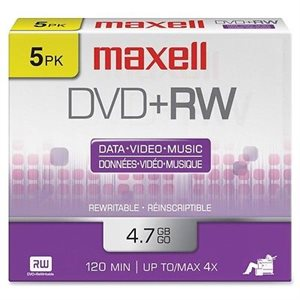 MAXELL 634045 DVD+R 4.7 GB RECORDABLE (JEWEL CASE) - 5 UNITS