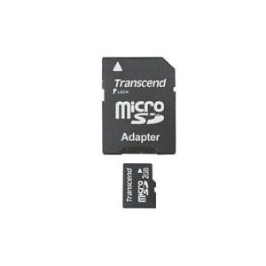 Carte microSD (T-Flash) de 2Go avec adaptateur de Transcend