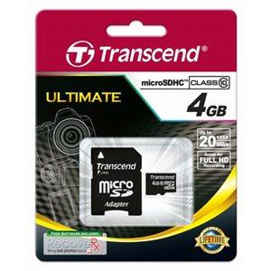 Carte microSDHC Classe 10 de 4Go de Transcend