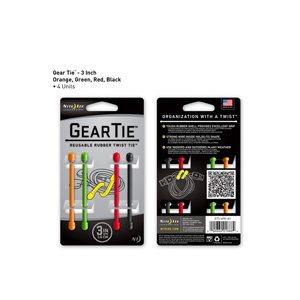 Gear Tie de 3 pouces assortie de Nite Ize - orange, vert, rouge & noir - (4 unités)