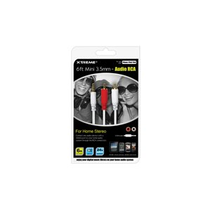 Câble 3,5mm vers RCA audio 1,8m (6pi) 50603 de Xtreme – Blanc
