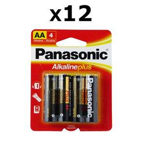 Paquet de 12 piles AA X4 Alkaline Plus de Panasonic