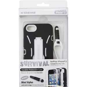 XTREME SURVIVAL PROTECTIVE CASE FOR IPHONE 5 BLACK