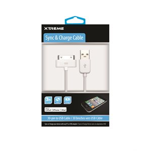 XTREME 3FT 30-PIN SYNC & CHARGE CABLE MFI (WHITE)