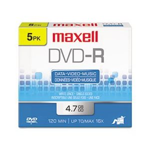 MAXELL DVD-R 4.7 RECORDABLE (JEWEL CASE) - 5 PACK