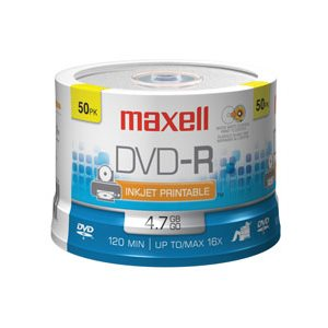 MAXELL DVD-R 4.7 RECORDABLE (SPINDLE CASE) PRINTABLE - SPINDLE 50