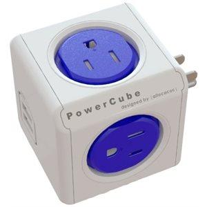 PowerCube original avec USB - Adaptateur mural à 4 prises de courant et 2 port USB, fusible réarmable - bleu