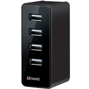 ISOUND2152 - 4 USB wall charger pro - Black rubberized