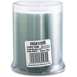 MAXELL 648720 CD-RPW 700 PRINTABLE (WHITE MATTE) - SPINDLE 100