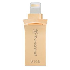 TRANSCEND 64GB JETDRIVE GO 500 USB 3.1 FOR IPHONE, IPAD OR IPOD -  GOLD