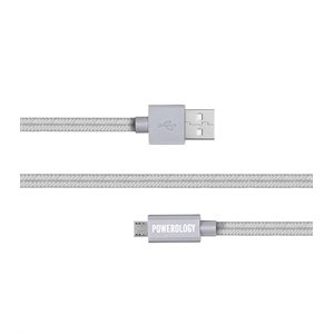 POWEROLOGY 6FT BRAIDED MICRO USB CABLE - SILVER