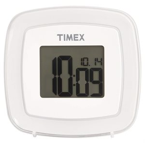 "TIMEX T104 1.1"" LCD Display Color Changing Dual Alarm Clock WHITE*BILINGUAL*"