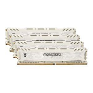 CRUCIAL BALLISTIX SPORT WHITE 32GB KIT (8GBX4) DDR4 2666 (PC4-21300) CL16 DR X8 UNBUFF DIMM 288PIN