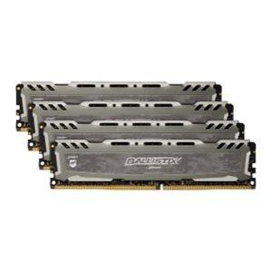 CRUCIAL BALLISTIX SPORT GREY 64GB KIT (16GBX4) DDR4 2666 (PC4-21300) CL16 DR X8 UNBUFF DIMM 288PIN
