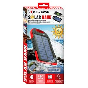 XTREME 5000mAh SOLAR POWERED BATTERY BANKS**RED**