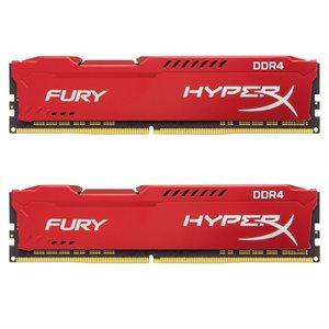 KINGSTON 16GB 2666MHz DDR4 NON-ECC CL16 DIMM (Kit of 2) 1Rx8 HyperX FURY Red