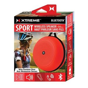 XTREME Sport Wireless Speaker w/Carabiner Hook -RED