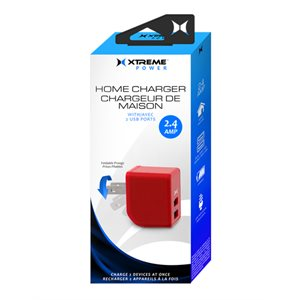 XTREME 2 PORT 2.4 AMP HOME CHARGER. LED INDICATOR, FOLDABLE PRONGS RED