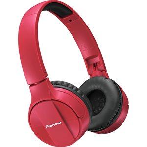 PIONEER SEMJ553BTR BLUETOOTH WIRELESS STEREO HEADPHONES - RED