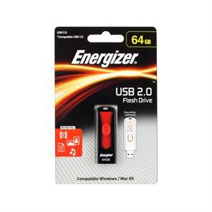 Clé Energizer rétractable de 64GO USB 2.0