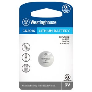 WESTINGHOUSE CR2016 LITHIUM BATTERY  3V - 1 PC