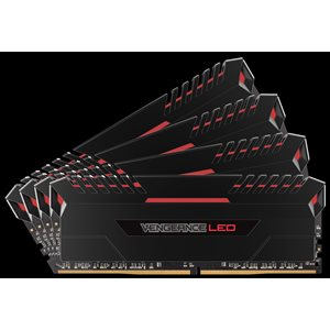 CORSAIR 64GB (KIT OF 4) 3000MHZ DDR4 DIMM 15-17-17-35 VENGEANCE BLACK HEAT 1.35V RED LED