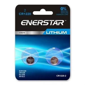 ENERSTAR BATTERY CR1220 LITHIUM 3V - 2 PACK