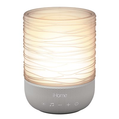 IHOME ZENERGY MEDITATIVE LIGHT & SOUND THERAPY CANDLE *GRAY/TRANSLUCENT*ENGLISH ONLY*