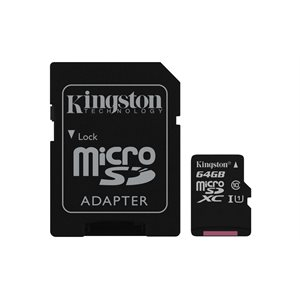 Kingston 64GB microSDXC Canvas Select 80R CL10 UHS-I Card+Adptr, Canada Retail