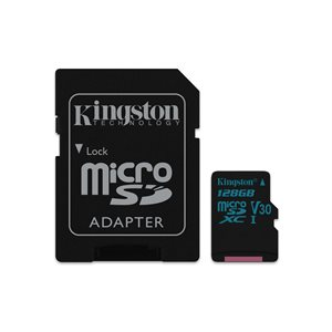 Kingston 128GB microSDXC Canvas Go 90R/45W U3 UHS-I V30 Card + SD Adptr (Canada)