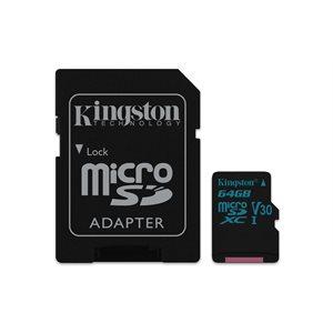 Kingston 64GB microSDXC Canvas Go 90R/45W U3 UHS-I V30 Card + SD Adptr (Canada)