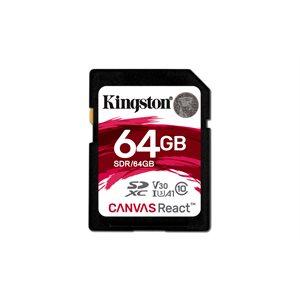 Kingston 64GB SDXC Canvas React 100R/80W CL10 UHS-I U3 V30 A1 Canada Retail