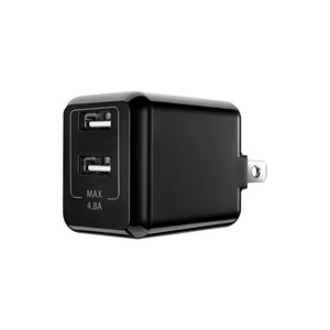 POWEROLOGY Dual USB Travel Charger 4.8A Home *BLACK*
