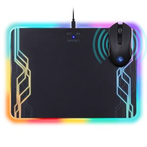 ACCESSORY POWER ENHANCE Tapis de souris LED avec surface de recharge (Qi) combo et souris ''Gaming'' rechargable