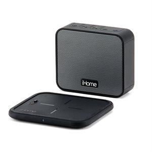 iHome haut-parleur Bluetooth sans-fil et bloc chargeur sans-fil Qi (pour charge mobile et HP BT)