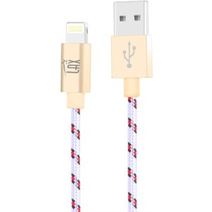 LAX 6FT Ltd. Ed. Apple MFi Certified Durable Braided Nylon Lightning Cable-WHITE - ENG ONLY