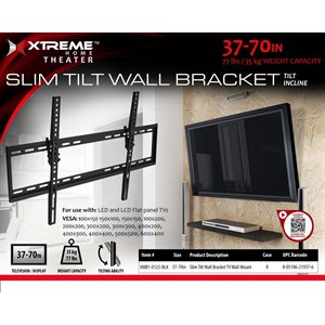 "XTREME  Slim Tilt Wall Bracket Size 37""-70"" Black"