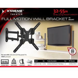 """XTREME  Full Motion Wall Bracket Size 32""""-55"""" Black"""