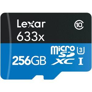 Lexar 256GB High-Performance 633x UHS-I microSDXC Memory Card with SD Adapter