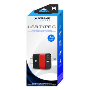 XTREME 2.4AMP USB Type-C Dual Port Home Charger Red