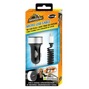 ARMORALL Micro USB with 2.4amp Car Charger Black