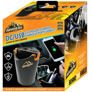 ARMORALL DC/3USB Cup Holder Charger Black