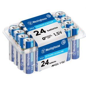 Batteries Westinghouse AAA Dynamo Alkaline  (24mcx - boitier plastifié)