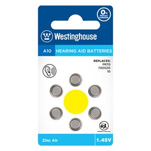 Westinghouse A10 Zinc Air battery for Hearing Aid (6 pcs per blister)