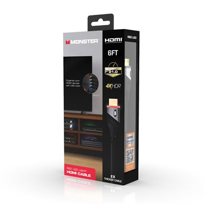 Monster 6ft High Speed 4K HDR HDMI CABLE with Built-in LED Light - Red