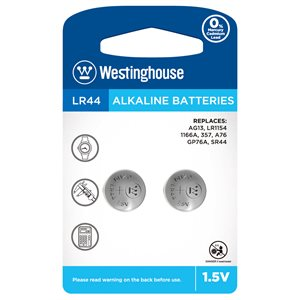 Westinghouse LR44 1.5V alkaline button cell (2 pcs per blister)