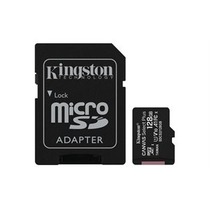 Carte MicroSDXC Kingston de 128GO Canvas Select Plus 100R A1 C10 + Adaptateur