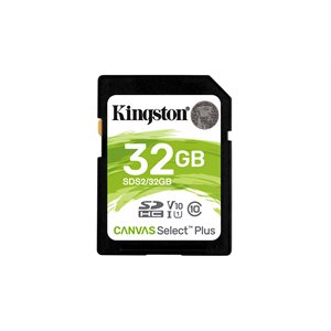 Carte SDHC Kingston de 32GO Canvas Select Plus 100R C10 UHS-I U3 V30