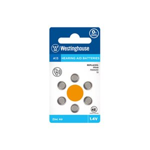 Westinghouse  10 x 6PK A13 Hearing Aid Batteries Blister Cards in a White Box