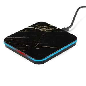 LAX Marble Qi 10W Certified Wireless Charger for Qi-Enabled Smartphones-BLACK